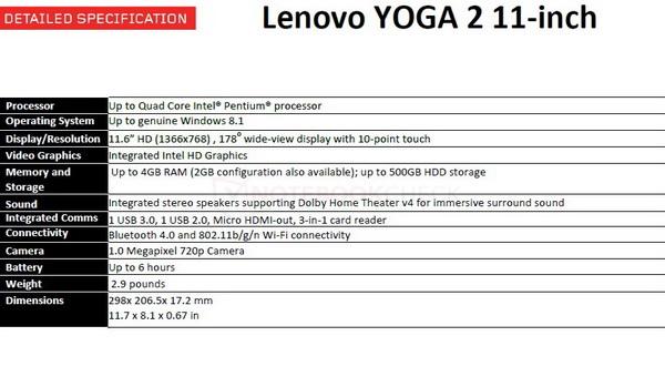 yoga 2 11 specs