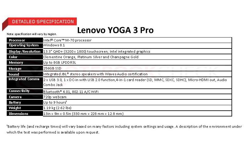 yoga 3 pro specs