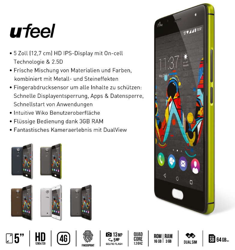 wiko stellt u feel und u feel lite smartphones mit. Black Bedroom Furniture Sets. Home Design Ideas