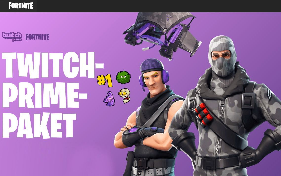 fortnite twitch prime paket epic games und twitch verteilen loot - fortnite paket