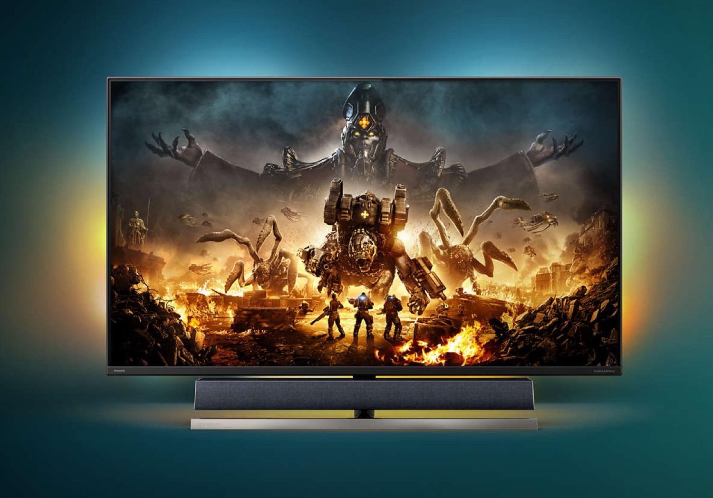 Philips präsentiert einen 55 Zoll 4K-Gaming-Monitor mit 144 Hz, HDMI 2.1, B&W-Sound und Ambiglow