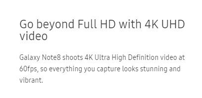 how to get 4k 60fps on note 8