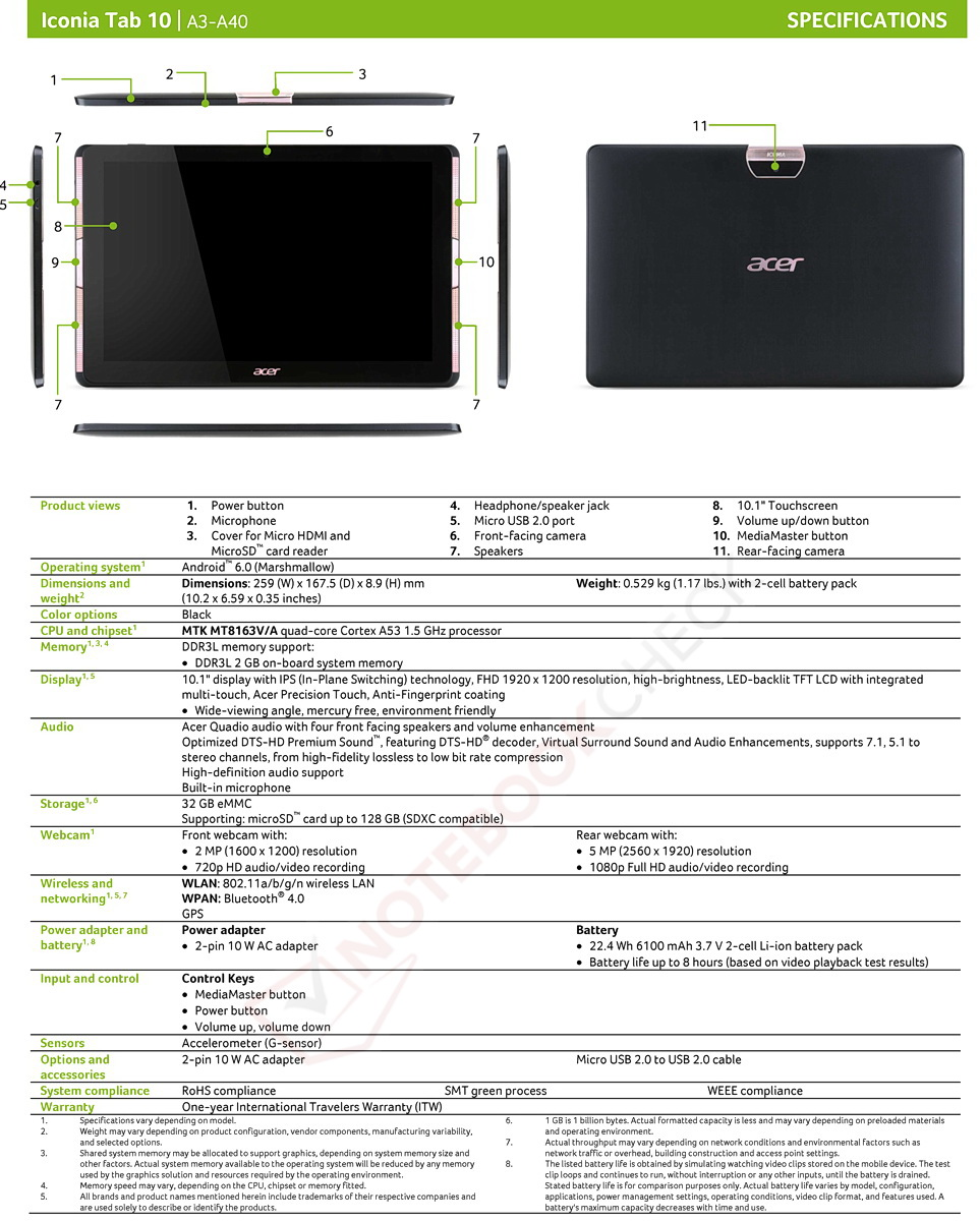 acer iconia tab 10 a3 a40 10 zoll tablet mit marshmallow ab juni f r 200 euro notebookcheck. Black Bedroom Furniture Sets. Home Design Ideas
