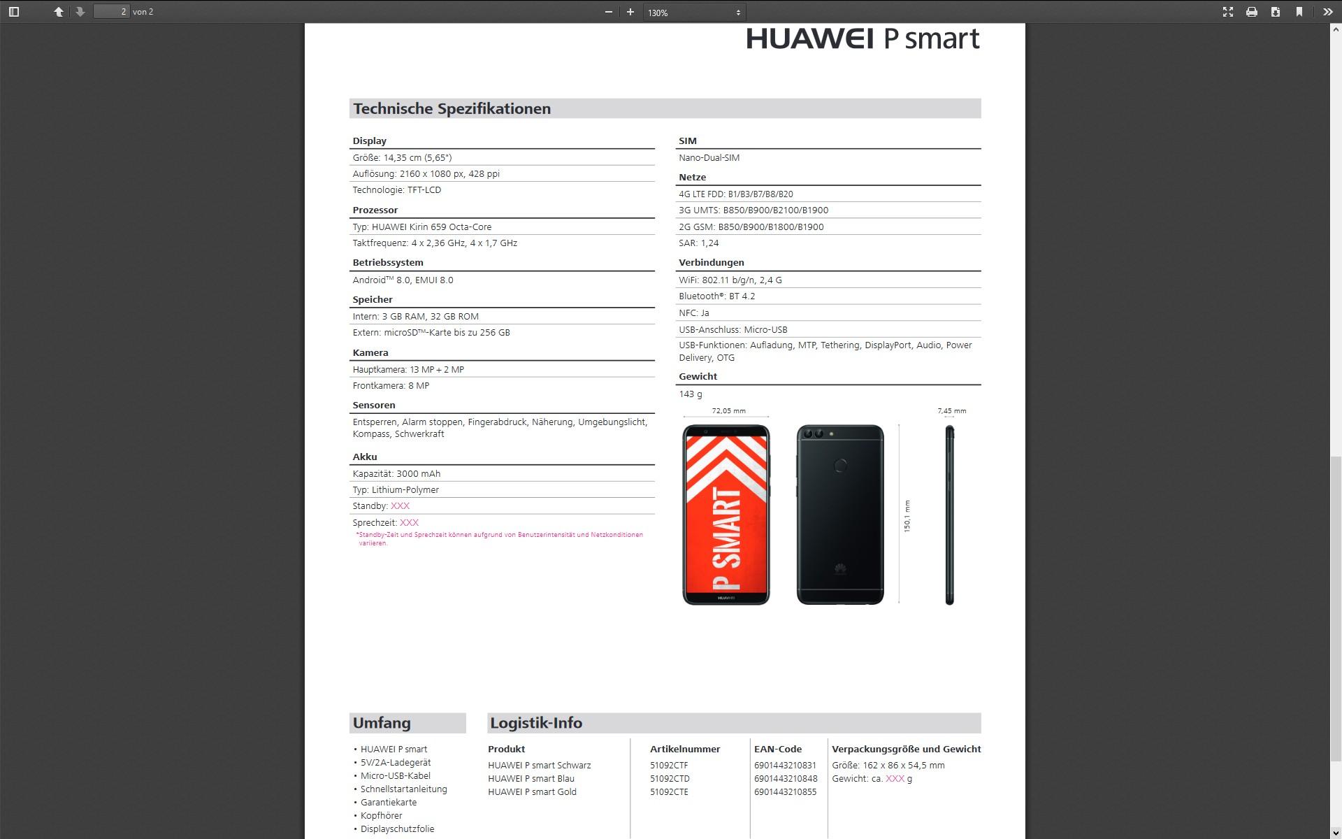 Huawei P Smart 5 6 Zoll Smartphone Mit 2 160 X 1 080 Pixeln Und Android 8 Oreo F 252 R 260 Euro