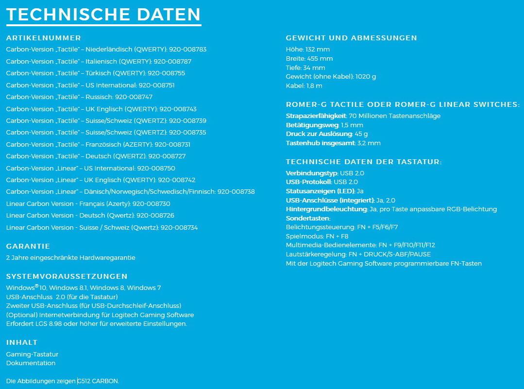 Logitech G Gx Blue Switch Fr Die Mechanischen Gaming Tastaturen G512 Rgb Mechanical Keyboard Unverbindliche Preisempfehlung G513 Mit Betrgt Knapp 180 Euro Uvp