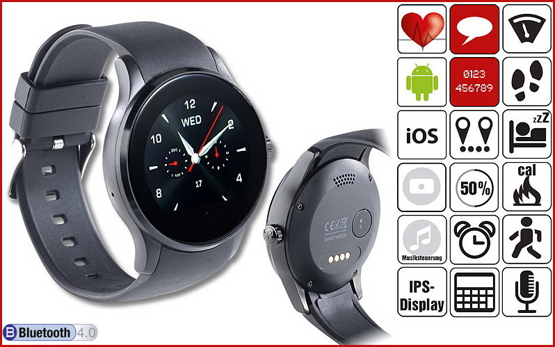 simvalley handy uhr bluetooth smartwatch px 4555 f r. Black Bedroom Furniture Sets. Home Design Ideas