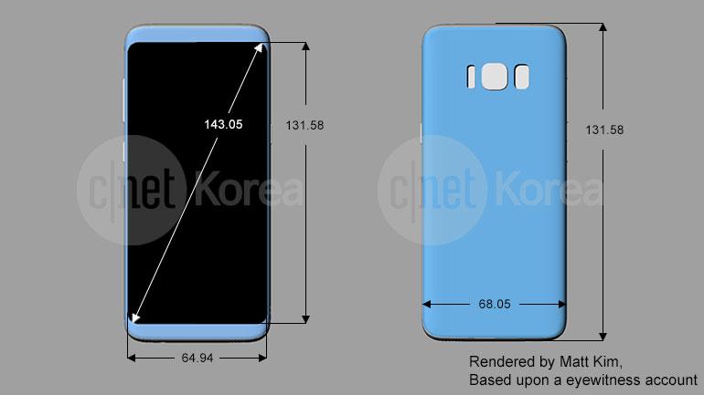 Samsung Galaxy S8 und S8 Plus: Schematische Zeichnungen