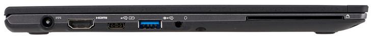 Левая сторона: сеть, HDMI v1.4, 2x USB 3.1 Gen 1 (1x Type C с функцией подачи питания, 1x Type A с возможностью зарядки устройств при выключенном ноутбуке), разъём для наушников (комбинированный порт с линейным аудиовходом), SmartCard слот