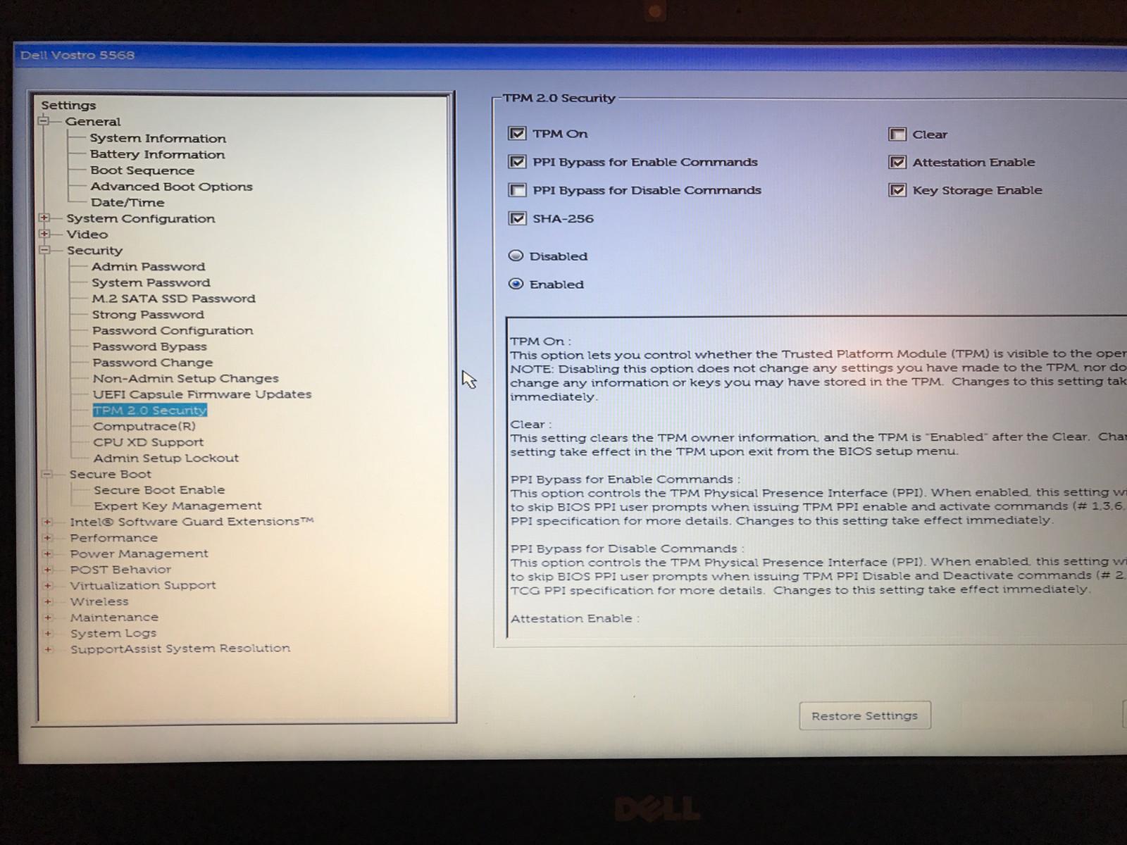 BIOS Sicherheitseinstellungen