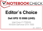 Editor's Choice Award im April 2017: Dell XPS 15 9560 (UHD)