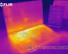 Thermal map of the XPS 15 2-in-1 after video streaming for some time.