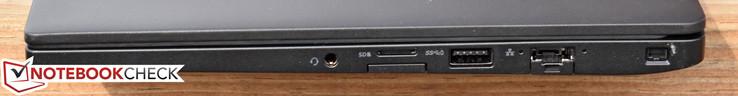 rechts: 3,5-mm-Kombibuchse, MicroSDXC, SIM-Kartenschacht, USB 3.0 powered, Gigabit Ethernet, Kensington Lock