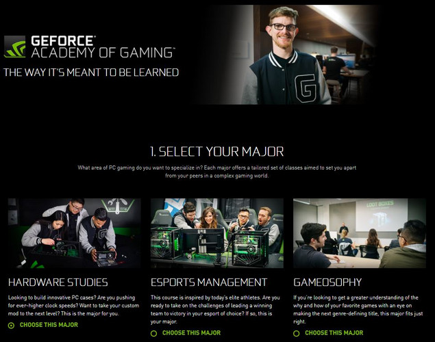 """The Way it is meant to be learned"" - In der Nvidia Geforce Gaming Academy."