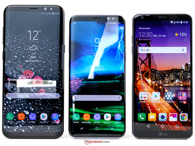 von links: Galaxy S8 Plus, Galaxy S8, LG G6