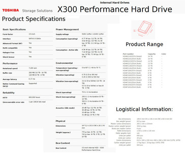 Toshiba X300 Performance Hard Drive Specs