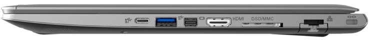 Rechte Seite: 1x Tunderbolt 3, 1x USB 3.1 Gen1, Mini Display Port, HDMI, 6-in-1-Kartenleser, LAN, Kensington-Lock
