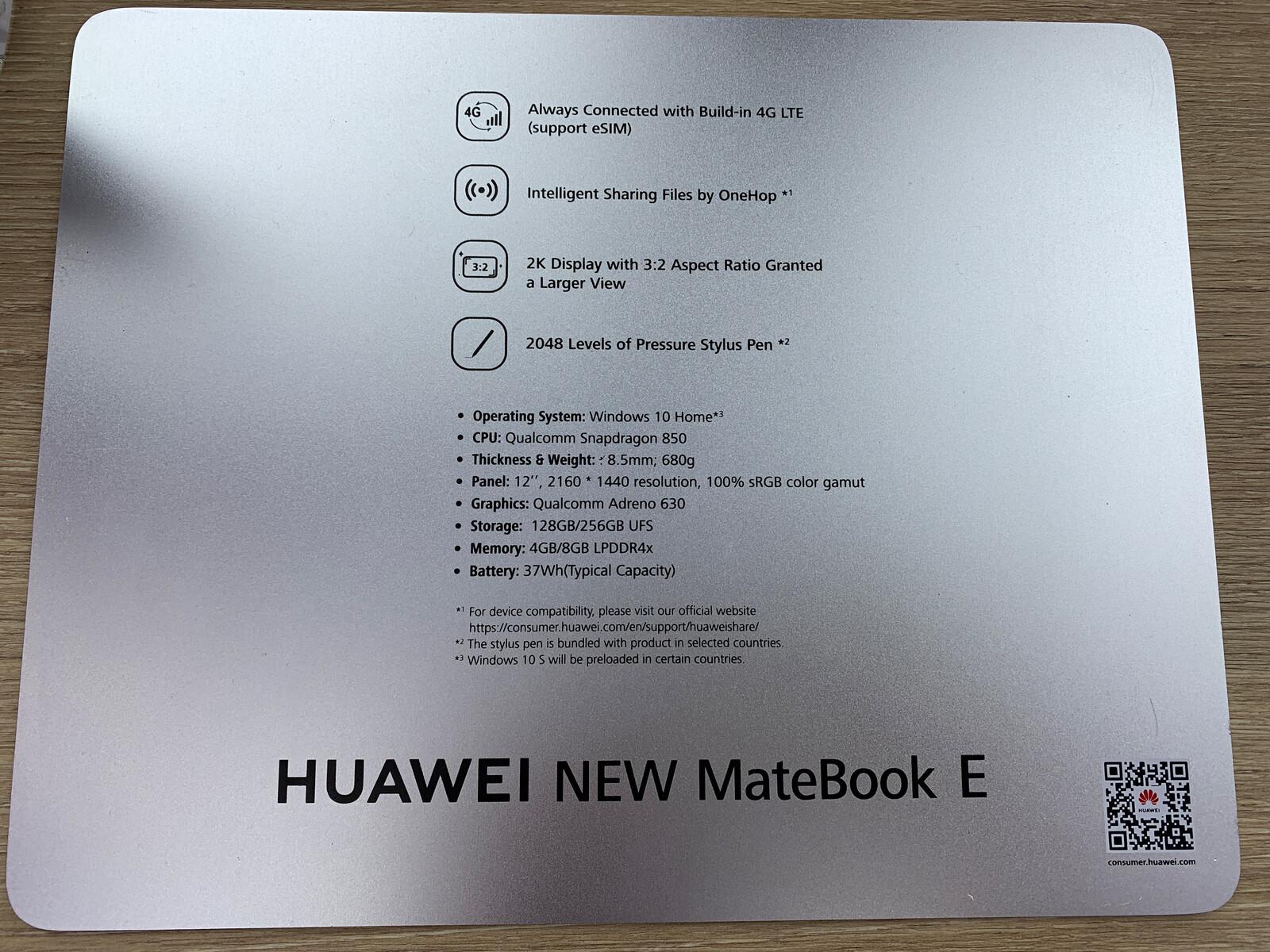 Huawei MateBook E mit Windows on ARM zeigt sich