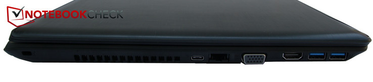 links: Kensington Schloss, USB Typ-C, LAN, VGA, HDMI, 2x USB 3.0
