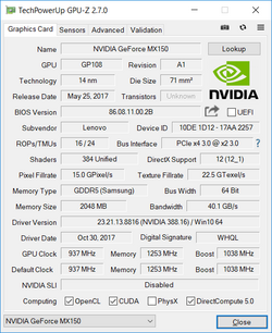 GPU-Z Nvidia GeForce MX150