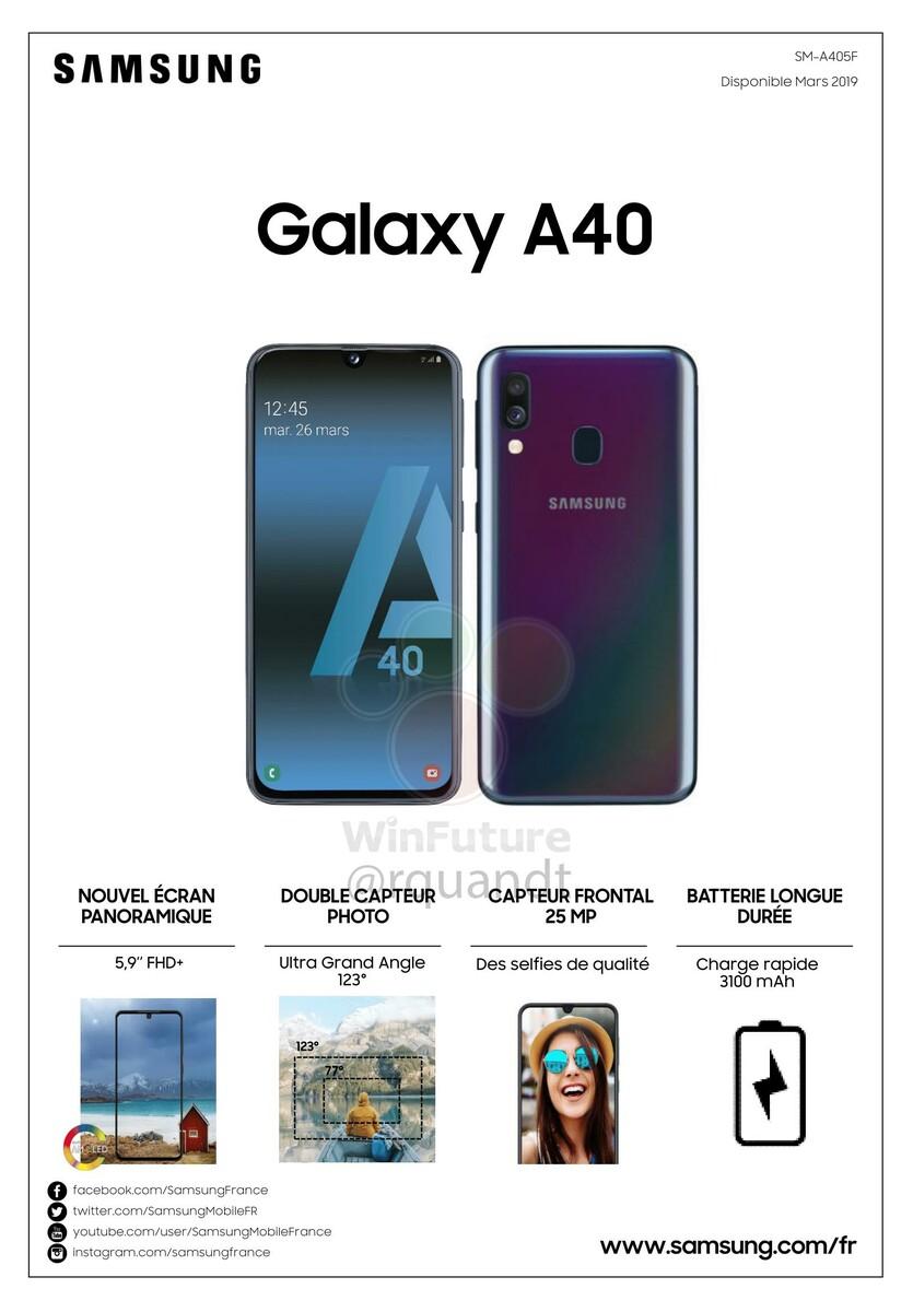 Samsung Galaxy A40 Nun Auch Vollständiges Datenblatt Geleakt Notebookcheck Com News
