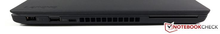 Linke Seite: Netzteil, USB 3.0, USB-C (Gen. 2)/Thunderbolt 3, SmartCard-Leser