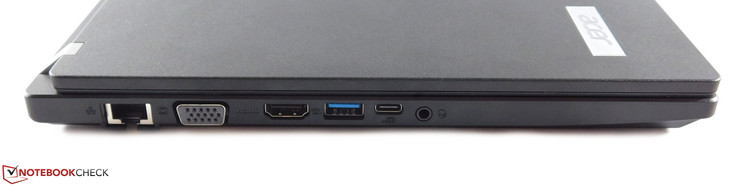 links: Ethernet, VGA, HDMI, USB 3.0 Typ-A, USB 3.0 Typ-C, 3,5-mm-Kombo-Audio