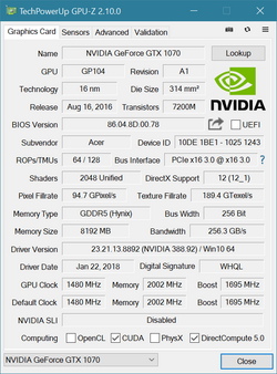 GPU-Z Nvidia GeForce GTX 1070