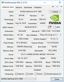 GPU-Z Geforce GTX 1060