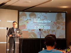 Dong-Jin Koh, CEO von Samsung Mobile verkündet den Launch des Galaxy Note 8 in Taiwan.
