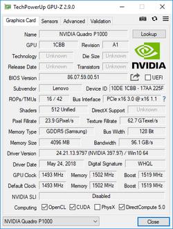 GPU-Z Nvidia Quadro P1000