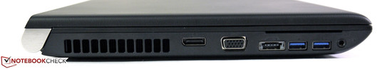 Links: DisplayPort, VGA, eSATA/USB, 2 x USB 3.0, Smart Card Reader, Audio in/out