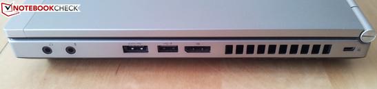 Rechte Seite: 2 x Audio, eSATA/USB-Kombi, USB 2.0, DisplayPort, Kensington