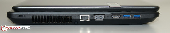 Rechts: Kensington Lock, Ethernet, VGA, HDMI, 2 x USB 3.0