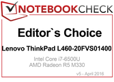 Editors Choice im April 2016 für den Lenovo ThinkPad L460