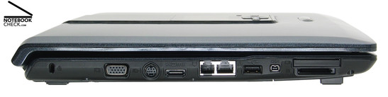 One C8510 linke Seite: Kensington Lock, VGA, S-Video Out, HDMI, Modem, Gigabit-LAN, 1x USB-2.0, Firewire, Kartenleser, ExpressCard