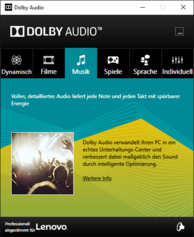 Dolby Audio Software - Musik-Preset