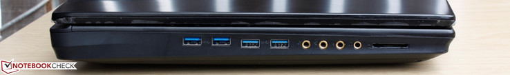linke Seite: 4x USB 3.0, Mikrofon, S/PDIF, Line-In, Line-Out