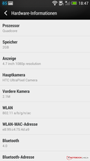 HTC Sense 5 UI: Hardwareinformationen
