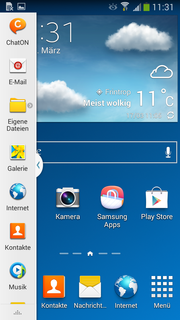 Homescreen mit aktivierter Multi Window Bar.