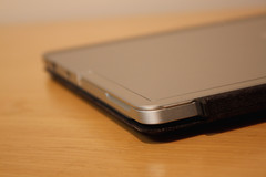Aluminum kickstand closes flush on the tablet rear