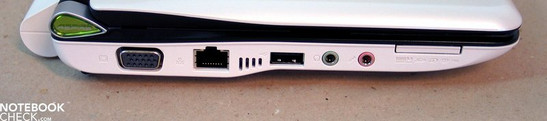Linke Seite: VGA, LAN, USB, Audio Ports, Multi-Cardreader