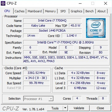 CPU-Z: Core i7-7700HQ