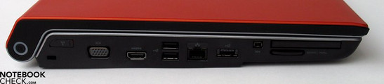Linke Seite: Kensington Lock, VGA-Out, HDMI, 2x USB 2.0, LAN, USB, Firewire, ExpressCard, SD Cardreader