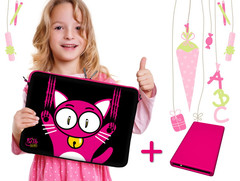 Digittrade: Kitty to Go LS140 Notebook-Sleeve und HipDisk HDD-Gehäuse in Pink