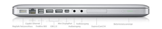Alle Anschlüsse (ausser dem Kensington Lock) befinden sich auf der linken Seite: MagSafe (Strom), Gigabit LAN, FireWire 800, 2x USB 2.0, Mini DisplayPort, Line-In (analog / optisch), Headphones bzw. Line-Out (analog / optisch), ExpressCard 34mm