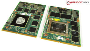 GTX 560M (links) vs. GTX 580M (rechts)