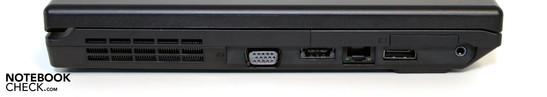 Linke Seite: VGA, eSATA/USB, LAN, Display Port, Audio, Expresscard 34mm