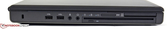 Links: Kensington, 2 x USB 3.0, Audio in/ out, DVD-Brenner, Card Reader, Smart Card Reader, ExpressCard 34/54.