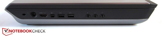 linke Seite: Kensington Lock, Stromeingang, HDMI, Mini-DisplayPort, 2x USB 3.0, 3x Sound