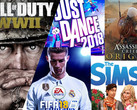 Spielecharts: FIFA 18, CoD:WWII, Sims 4 und Assassin's Creed Origins.